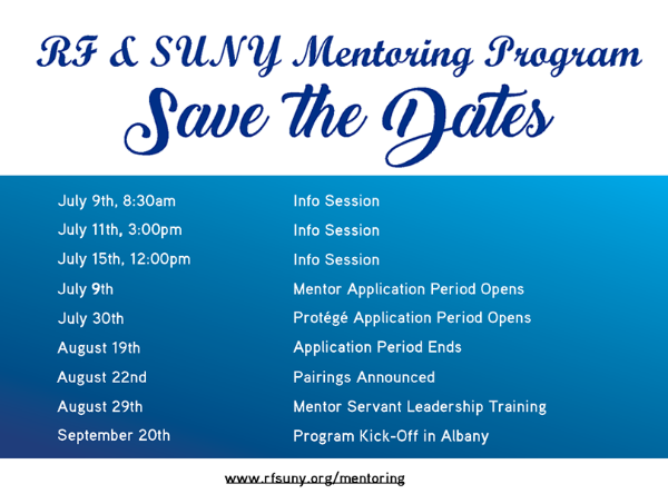 save the date flyer for 2019-20 mentoring program